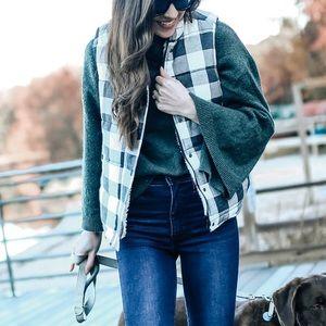 Jackets & Blazers - Plaid Puffer Vest- NWT Size S
